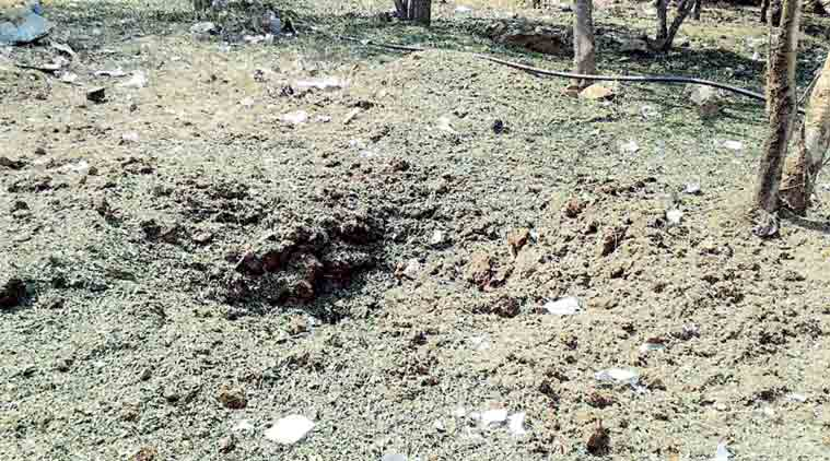 The crater left by the object 'that fell from sky'. (Express Photo)
