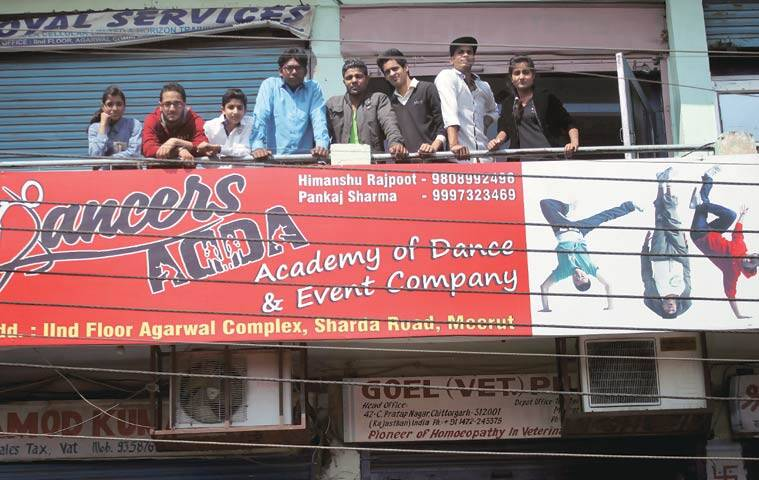 "Himanshu (blue shirt) with his students. ""Meerut is a hub for professional dance aspirants,"" he says"