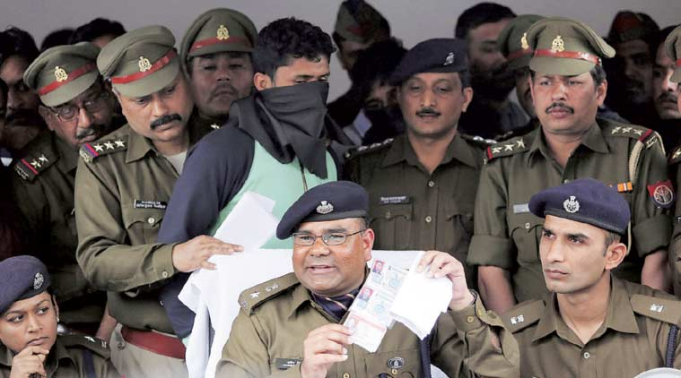 SSP Ghaziabad Dharmendra Singh addresses the media after the arrest of the five accused Monday. (Express Photo: Praveen Khanna)