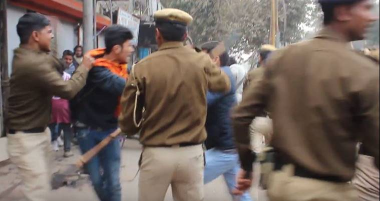 Delhi Police, delhi police video, police assaults students, delhi, police video, Rohith Vemula Delhi police, delhi police protest, student protest rss, rss delhi police, delhi police lathi charge,