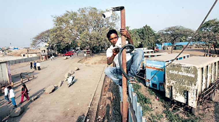 The civic body also installed 10 CCTV cameras at the dumping ground on Wednesday. (Express Photo by: Vasant Prabhu)
