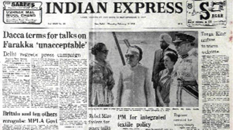 forty years ago, indian express front page, indian express forty years ago, bangladesh, farakka, indian government, vinoba bhave, indian express editorial
