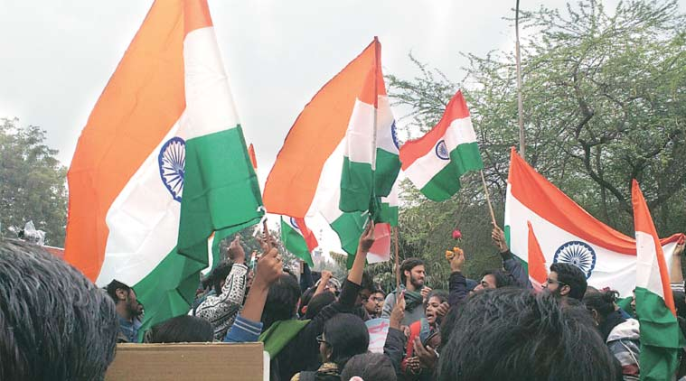 Students mobilise support for the march, at JNU Thursday. (Express Photo Aditi Vatsa)