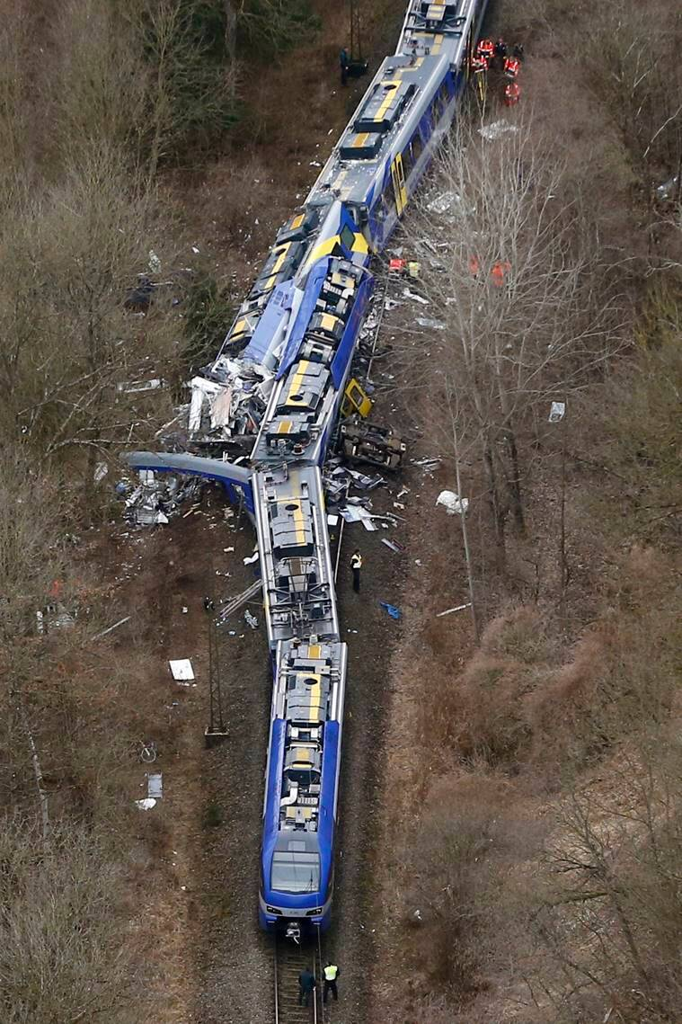 Aerial view of rescue workers at the site where two trains collided head-on near Bad Aibling, Germany. AP Photo