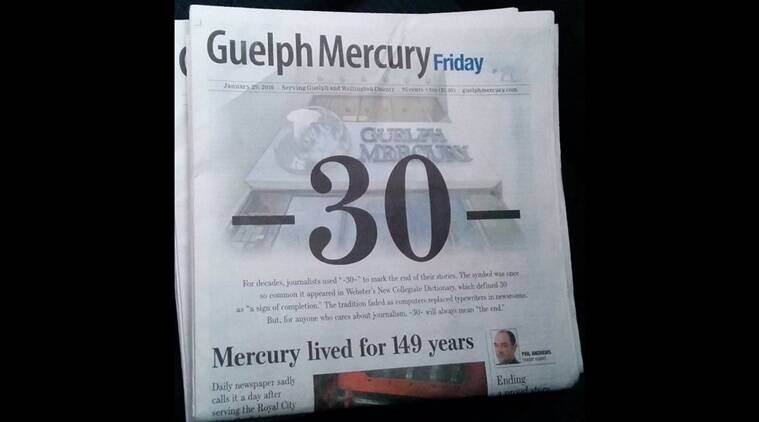 Guelph Mercury, newspaper, Guelph, Canada, mayor Cam Guthrie, Twitter, #ThankTheMerc, Internet, obituary, front page, -30-, symbol, symbolism, Seth, graphic novelist