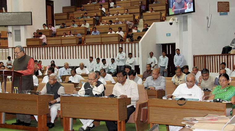 Gujarat Finance Minister Saurabh Patel presenting the budget for year 2016-17 in Assembly in Gandhinagar on Tuesday. (Source: PTI)