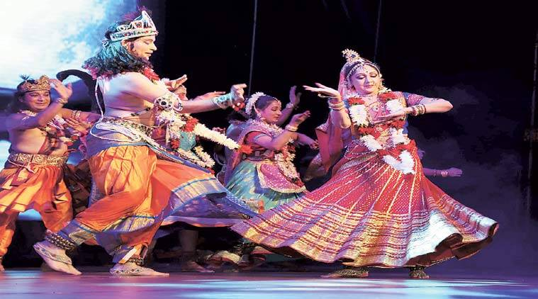 Hema Malini performs at the golden jubilee celebrations of ISKCON on Sunday evening. Dilip Kagda