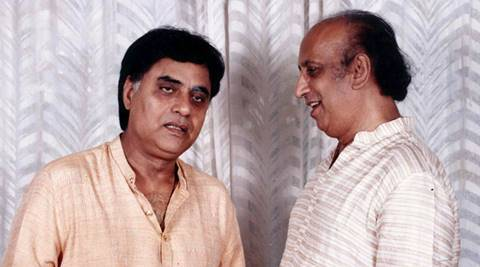 Ghazal Singer Jagjit Singh with Nida Fazli. *** Local Caption *** Ghazal Singer Jagjit Singh with Nida Fazli. Express archive photo