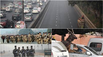 Delhi's Odd/Even scheme, French troops in R-Day parade, an adult stag's Chandigarh run: Best pics in January