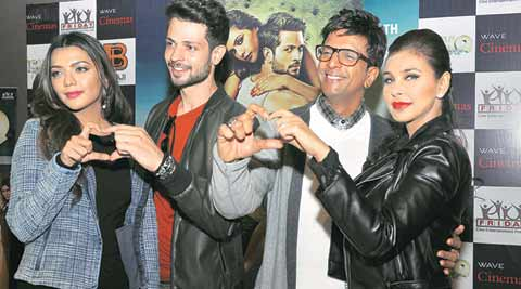 The star cast of Ishq Forever at a mall in Chandigarh on Saturday. (Express Photo by Sahil Walia)