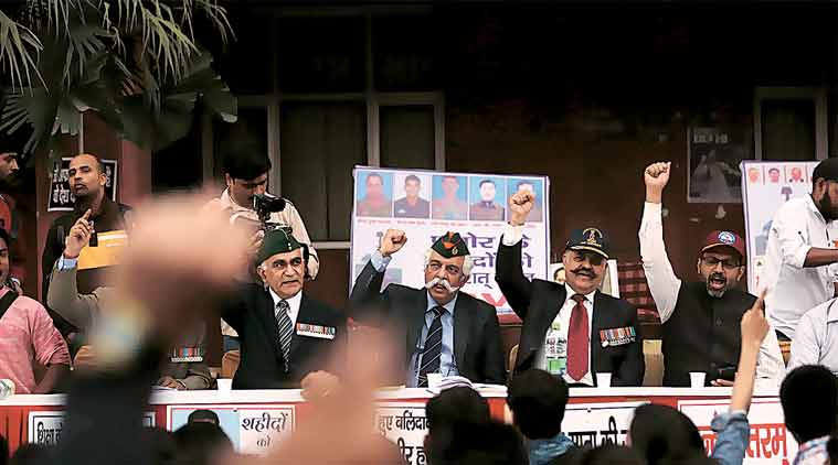 Ex-servicemen at an event organised by the ABVP in JNU on Wednesday. (Express Photo by: Tashi Tobgyal)