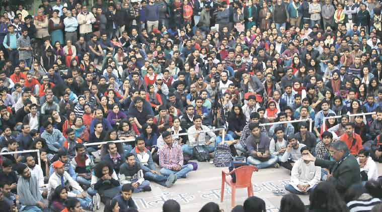 JNU students at a protest against the arrest of JNUSU president Kanhiaya Kumar inside the campus Wednesday. (Express Photo Tashi Tobgyal)