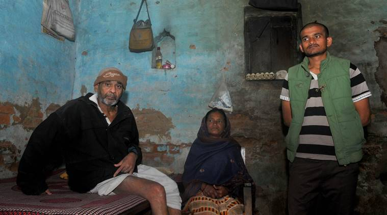 Prince Kumar, Younger Brother of JNU Student Union President Kanahiya alongwith Father Jai Shankar Singh and Mother Mina Devi at his vilage Masnadpur Tola in Bihat,Begusarai on Saturday, feb 13,2016. They are in shock and anger after at arrest of Kanahaiya in recent JNU protest and clash connection. Express Photo By Prashant Ravi