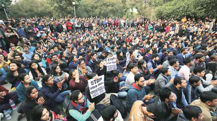 JNU students stand in solidarity with Kanhaiya. (Express Photo Praveen Khanna)