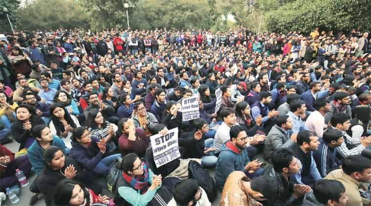 JNU students stand in solidarity with Kanhaiya. (Express Photo Praveen Khanna)