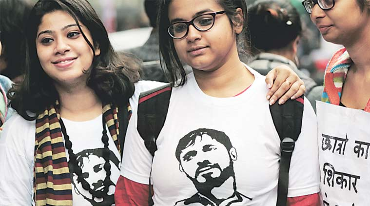 "Many sported t-shirts with the words ""Mera Yaar Kanhaiya"" and an image of the arrested JNUSU president. (Express Photo Ravi Kanojia)"