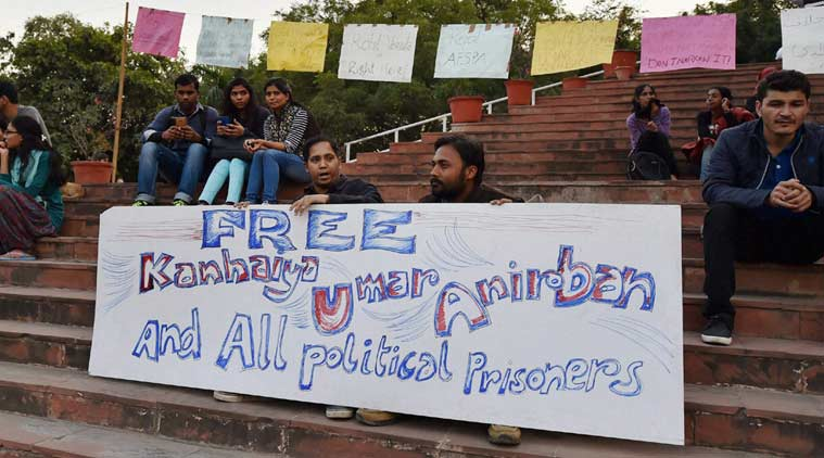 JNU students agitate for the release of students arrested on sedition charges on the university campus in New Delhi on Wednesday. PTI Photo