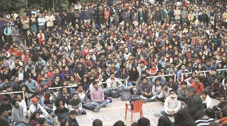 JNU, JNU protest, JNUSU, JNU rss, jnu protests, jnu protests news, india flag, jnu india flag, jnu agitation, jnu rally, india jnu, delhi news, india news