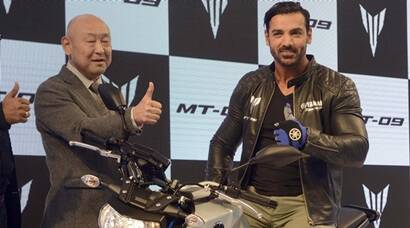John Abraham launches bike at Auto Expo, Delhi