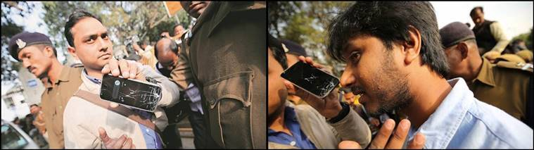Indian Express journalists Alok Singh and Kaunain Sheriff were attacked at the Patiala House court on Monday afternoon. Express Photo