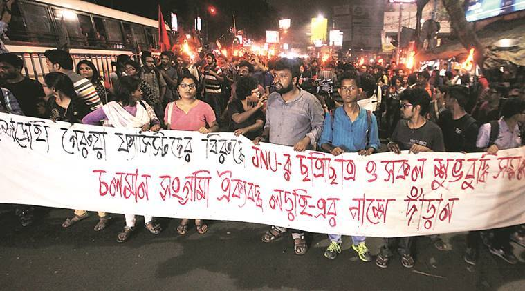 jadavpur university, ju, ju jnu support march, ju solidarity march, ju anti national solgan, bengal bjp, jnu row, jnu protest, west bengal news, kolkata news, jnu news, india news, latest news