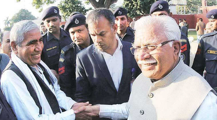 Haryana CM Manohar Lal Khattar with Jat leaders in Chandigarh on Wednesday. (Express Photo)