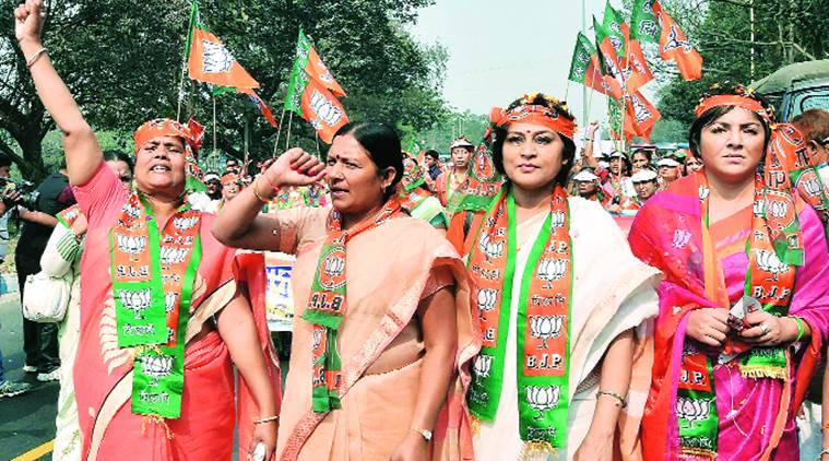 MP Savitri Thakur (second from left) with BJP Mahila Morcha chief Rupa Ganguly and actor-turned-politician Locket Chatterjee in Kolkata on Friday