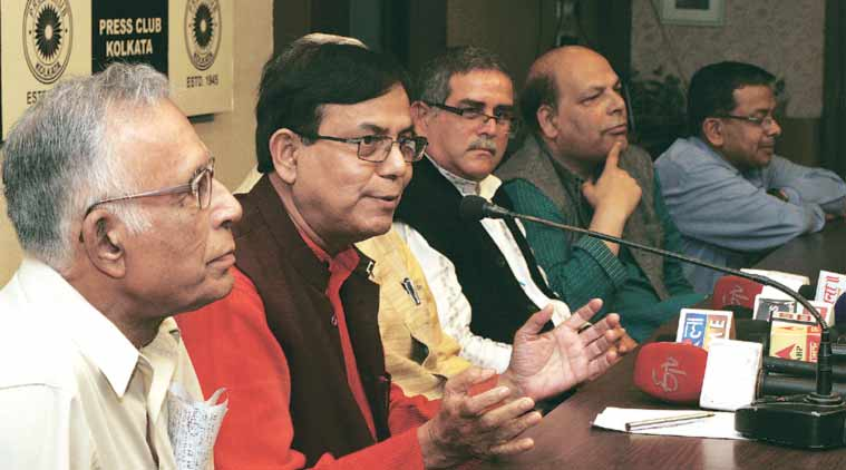 During a discussion on upcoming Assembly elections in Kolkata Press Club on Wednesday. (Express Photo: Partha Paul)