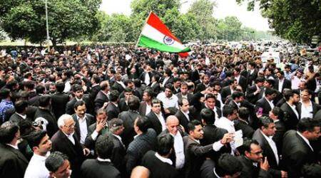 Lawyers against 'anti-nationals': Days after leading assault, Chauhan leads protest march