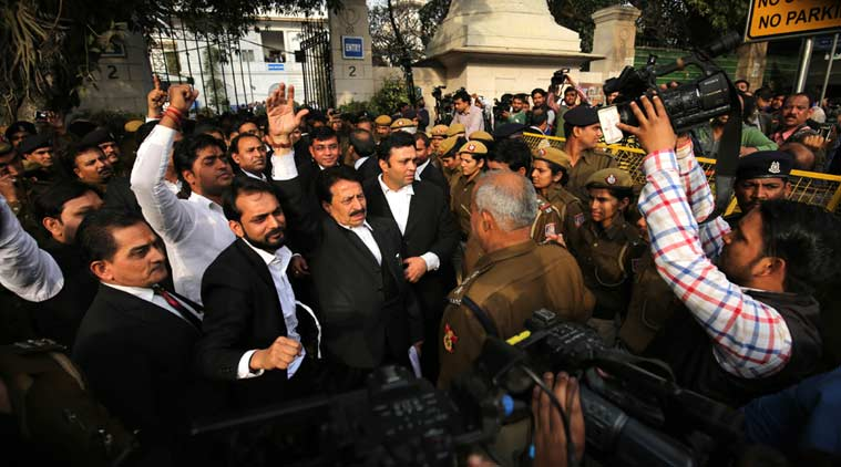 Lawyers outside the Patiala house court after attack on journalists during JNUSU president Kanhaiya Kumar produce, in New Delhi on Feb 15th 2016. (Express photo by Ravi Kanojia)