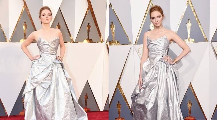 Lily Cole in a silver Vivienne Westwood gown made out of recycled plastic bottles. (Photo: AP)
