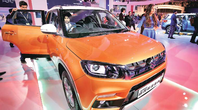Maruti Suzuki unveiled the company's much awaited compact SUV Vitara Brezza at the Auto Expo in Greater Noida, Uttar Pradesh on Wednesday. (Express Photo by: Ravi Kanojia)