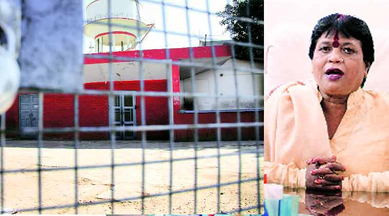 The locked canteen at AMU, (right) Aligarh Mayor Shakuntala Bharti. (Express Photo: Gajendra Yadav)