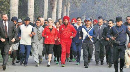 Ontario premier keeps her date with city: A one-km jog with Milkha Singh,Adviser
