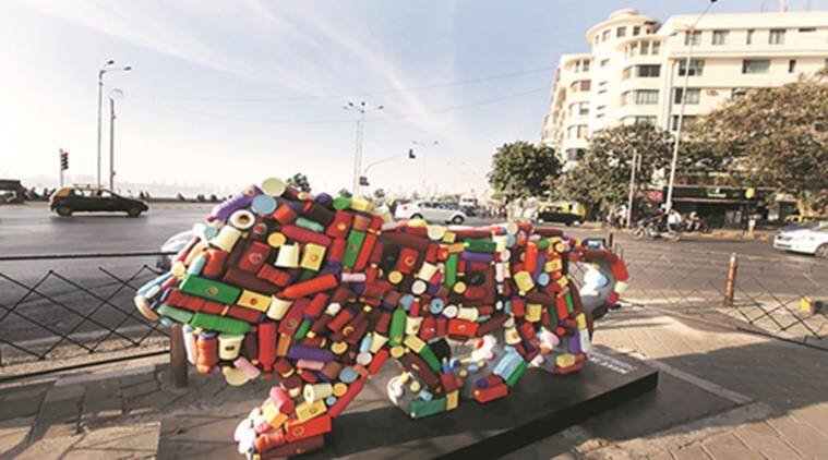 Lion's logos, as apart of branding exercise of Making in India event, were istalled at Seven locations across city including one at Marine Drive, Mumbai. Express photo by Vasant Prabhu, 24022016.