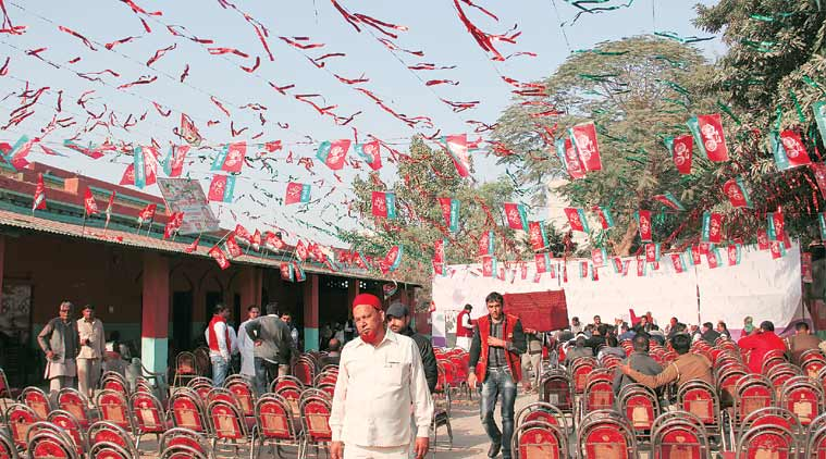 At an election rally in Muzaffarnagar. (Express Photo by: Gajendra Yadav)