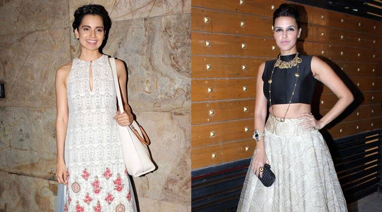 Kangana Ranaut (L) and Neha Dhupia (R) in Anju Modi creations.