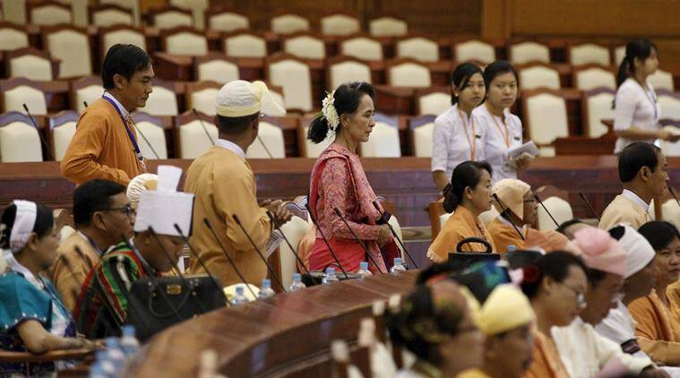 Myanmar's National League for Democracy leader Aung San Suu Kyi arrives for the opening of the new parliament in Naypyitaw February 1, 2016. After decades of struggle, hundreds of lawmakers from Aung San Suu Kyi's camp will form Myanmar's ruling party on Monday, with enough seats in parliament to choose the first democratically elected government since the military took power in 1962. REUTERS/Soe Zeya Tun