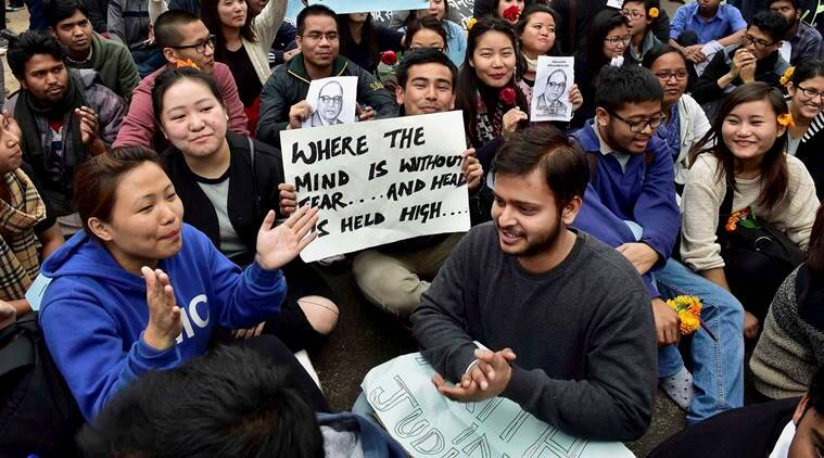 New Delhi: JNU students agitating for the release of the Students Union President  Kanhaiya Kumar at the Jawaharlal Nehru University (JNU) in New Delhi on Thursday. PTI Photo by Kamal Kishore(PTI2_18_2016_000171B) *** Local Caption ***