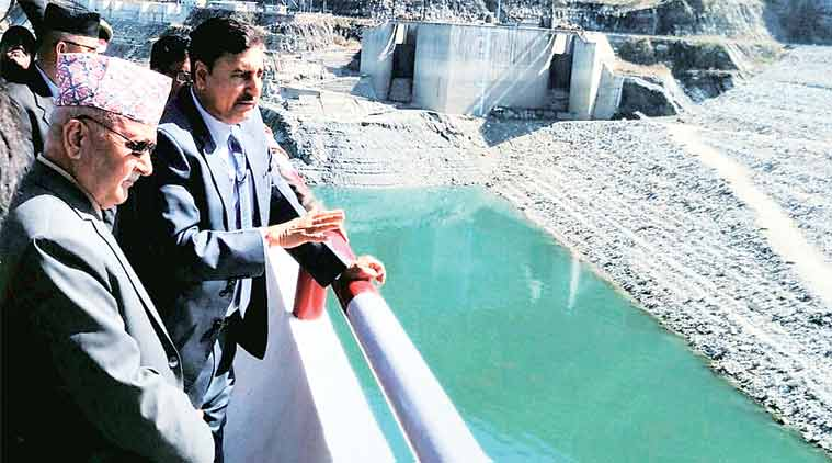 Nepal Prime Minister K P Sharma Oli at Tehri dam on Sunday. (Source: PTI)