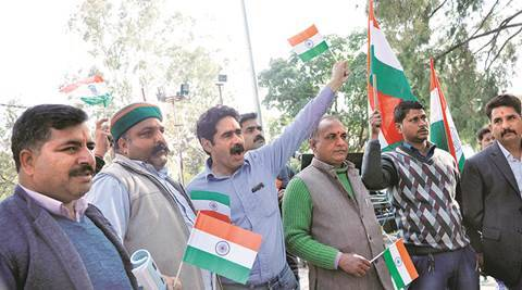 Family members of Pathankot airbase attack martyr (Jagdish Chand and Sanjeevan Rana)  protest against holding up World Twenty20 match between India and Pakistan at Dharamshala. Express photo. 13.02.2016.