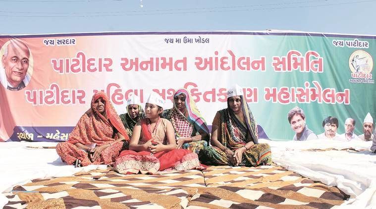 Female relatives of Patidar youth who died in the 8-month long Patel quota stir, take centre-stage at the Patidar Mahila Mahasammelan rally held at Mehsana on Sunday. EXPRESS PHOTO SALMAN RAJA