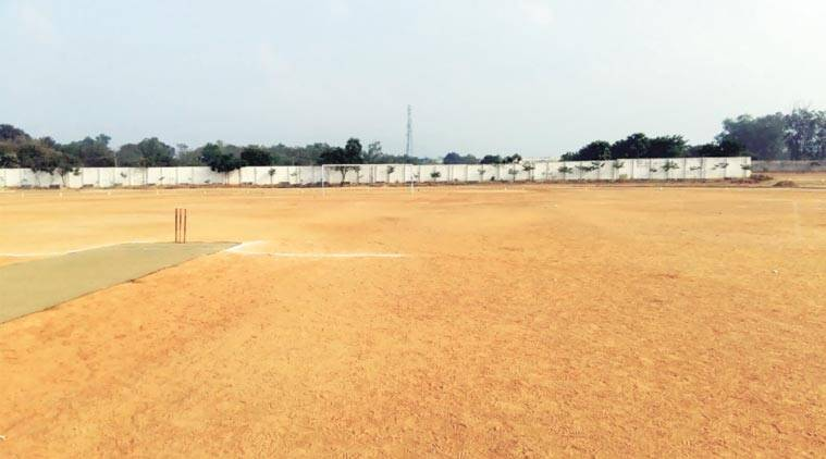 This football ground in Chennai doubled up as the cricket pitch for the premier All India university tournament.