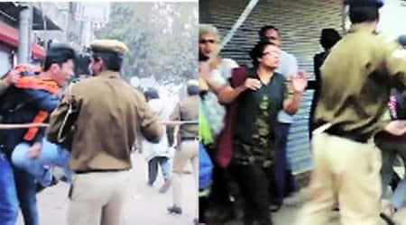 Delhi Police, delhi police video, police assaults students, delhi, police video, Rohith Vemula Delhi police, delhi police protest, student protest rss, rss delhi police, delhi police lathi charge,