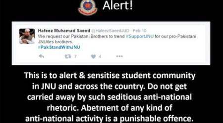 Behind govt claim that JNU protests have LeT chief's backing, a fake 'Hafeez' Saeed tweet
