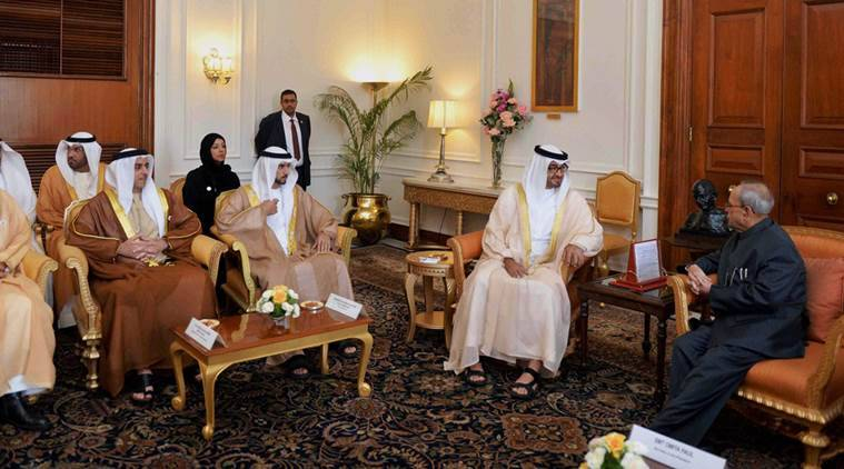 New Delhi: President Pranab Mukherjee talks with Sheikh Mohammed Bin Zayed Al Nahyan, Crown Prince of United Arab Emirates and his delegation at Rashtrapati Bhavan in New Delhi on Thursday. PTI Photo (PTI2_11_2016_000101B)