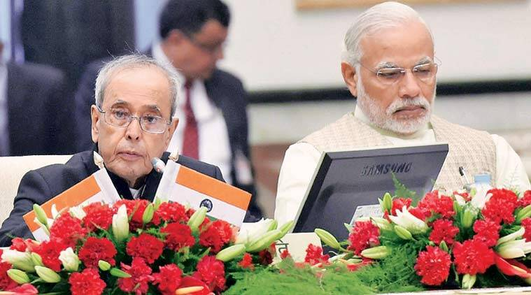 President Pranab Mukherjee and Prime Minister Narendra Modi at the Governors Conference in New Delhi, Tuesday. (Source: PTI)