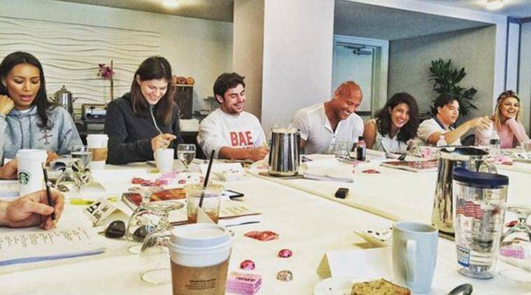 priyanka chopra, dwayn johnson, the rock, baywatch, zac efron, Alexandra Daddario, Kelly Rohrbach, Ilfenesh Hadera, priyanka chopra dwayn johnson, priyanka dwayne johnson, priyanka dwayne pics, entertainment news