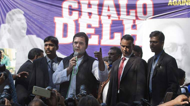 Congress vice president Rahul Gandhi addresses students during a protest in New Delhi, India, Tuesday, Feb. 23, 2016. (AP Photo)