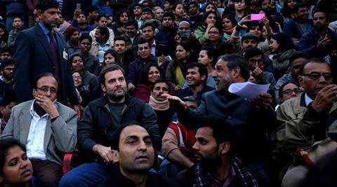 Congress Leader Rahul Gandhi at JNU in the to support JNU students on the issue of Anti National slogans came out in the new, in New Delhi on Saturday. EXPRESS PHOTO BY PRAVEEN KHANNA 13 02 2016.